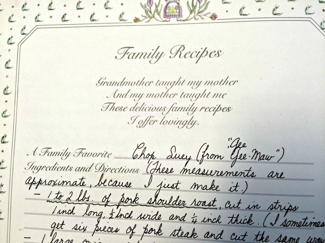 Recipe in my grandmother's handwriting.